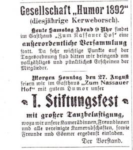 SZ Nr 68 26 08 1911 Humorgesellschaft  1892 als KB