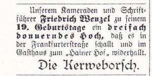SZ  Nr 76 22091909    19 Geburtstag Schriftführer Kerweborsch