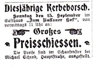 SZ Nr74 14 09 1912 Kerbeborsch Preisschießen (1)